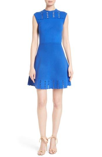 Ted Baker London Zaralie Jacquard Panel Skater Dress, Blue