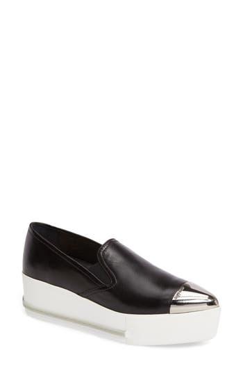 Miu Miu Metal Cap Toe Platform Sneaker - Black