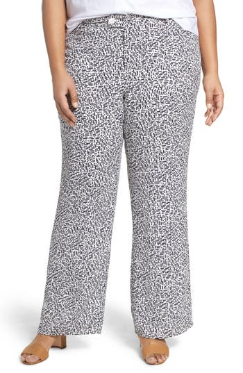Plus Size Foxcroft Dots & Dashes Flare Leg Pants