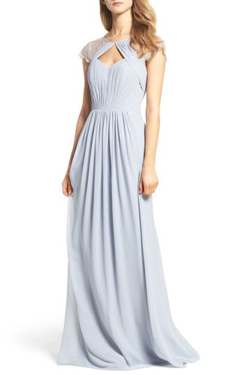 Hayley Paige Occasions Cap Sleeve Lace & Chiffon Gown, Metallic