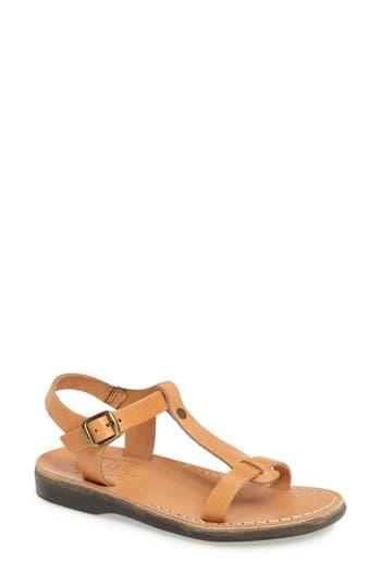 Jerusalem Sandals Bathsheba T-Strap Sandal, Brown