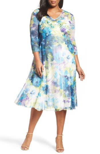 Plus Size Komarov Floral Print A-Line Dress