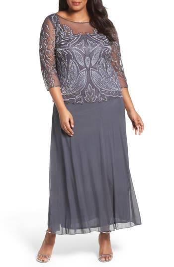 Plus Size Pisarro Nights Illusion Neck Beaded A-Line Gown, Grey