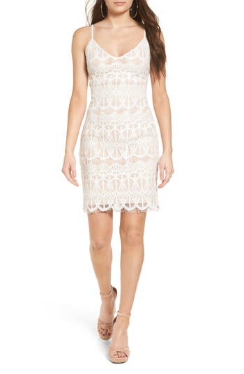 Leith Lace Body-Con Slipdress, Ivory
