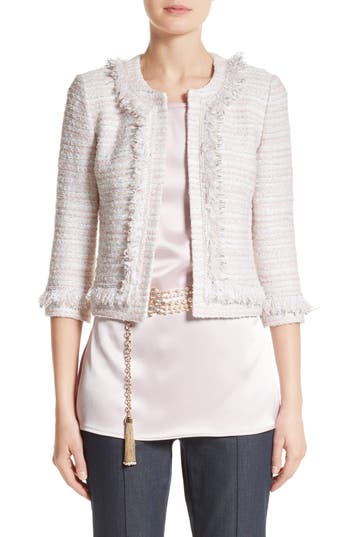 Women's St. John Collection Padmesh Tweed Knit Fringe Jacket