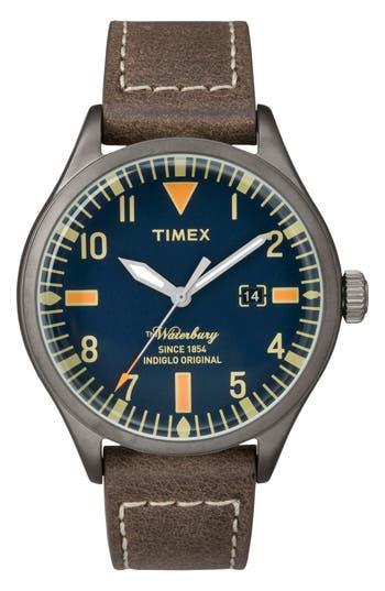 Timex Waterbury Leather Strap Watch, 40Mm