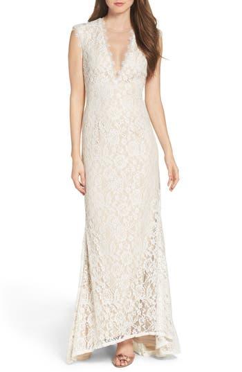 Aidan By Aidan Mattox Illusion Lace Column Gown