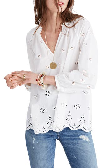 Women's Madewell Eyelet Blouse, Size X-Small - White