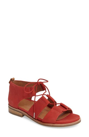 Gentle Souls Fina Lace-Up Sandal- Red