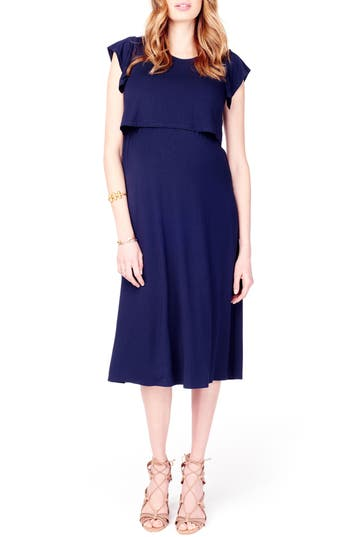 Ingrid & Isabel Maternity/nursing Midi Dress, Blue