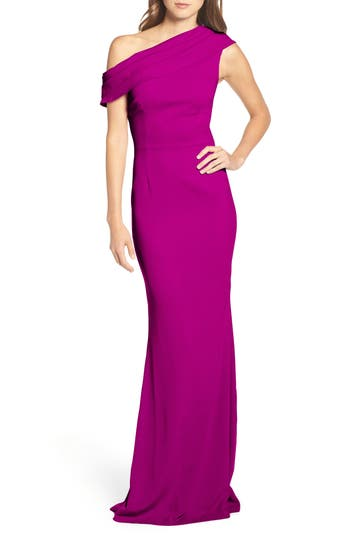 Katie May Layla Pleat One-Shoulder Crepe Gown, Purple
