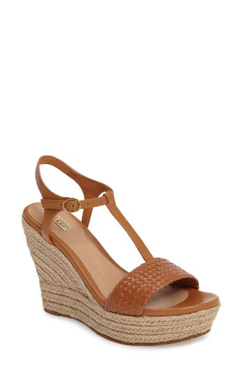 Women's Ugg Fitchie Ii Espadrille Wedge Sandal, Size 10 M - Brown