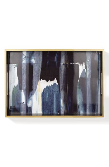 Fringe Studio Gallery Blues Lacquered Wood Tray