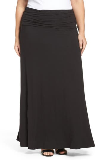 Plus Size Loveappella Fold Over Maxi Skirt, Black