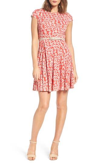 Petite Eliza J Print Fit & Flare Dress