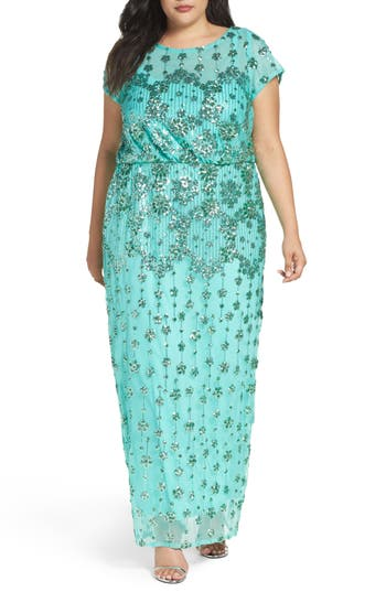 Plus Size Brianna Embellished Blouson Gown, Green