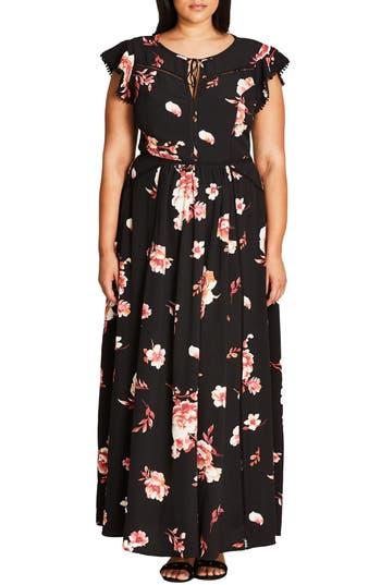 Plus Size City Chic Floral Lover A-Line Maxi Dress