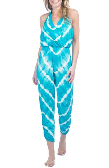 Green Dragon Tie Dye Cover-Up Jumpsuit, Blue/green