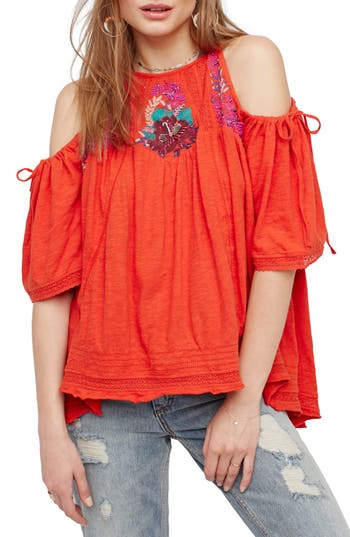 Free People Fast Times Cold Shoulder Top, Red
