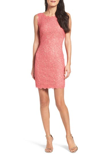 Adrianna Papell Boatneck Lace Sheath Dress, Coral