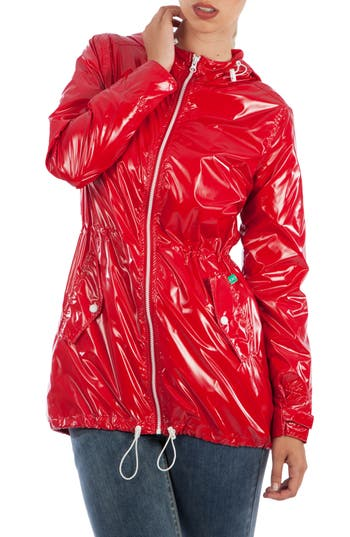 Women's Modern Eternity Waterproof Convertible Maternity Raincoat, Size X-Small - Red