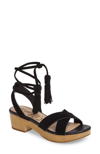 Women's Sam Edelman Jenna Ankle Wrap Sandal, Size 7 M - Black