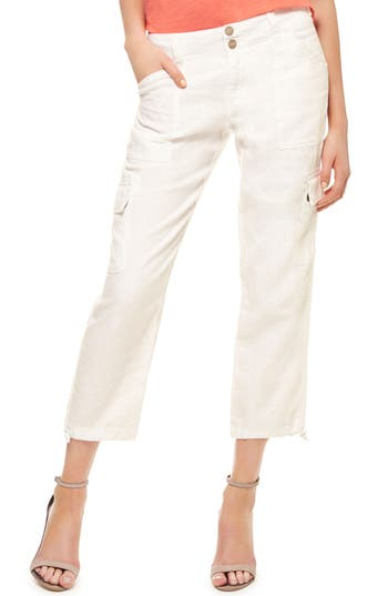 Sanctuary Terrain Linen Crop Cargo Pants, White