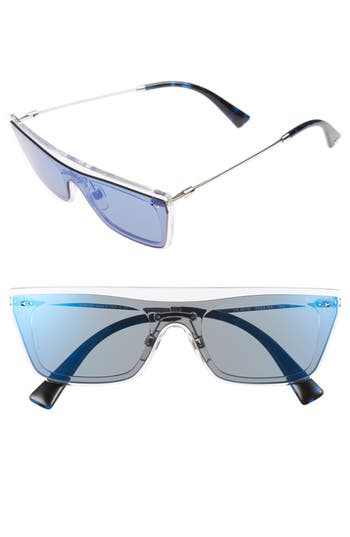 Valentino Rockstud 50Mm Rectangular Sunglasses - Mirror Blue