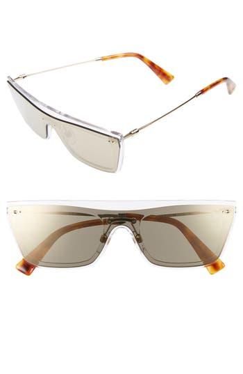 Valentino Rockstud 50Mm Rectangular Sunglasses - Mirror Light Gold