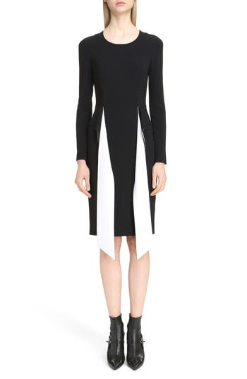Givenchy Bicolor Cutaway Stretch Cady Dress, 8 FR - Black