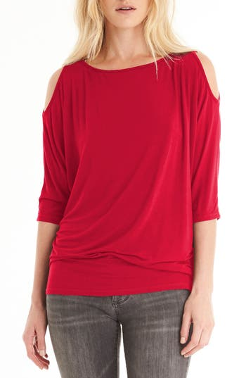 Petite Michael Stars Cold Shoulder Tee, Size One Size - Red