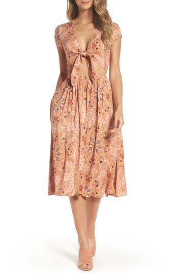 Women's Knot Sisters Park Slope Cutout Midi Dress, Size Medium - Pink