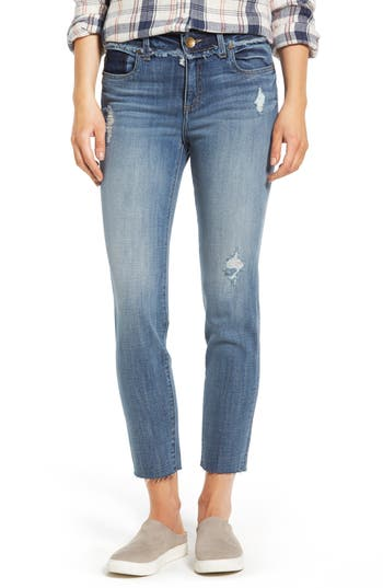 Kut From The Kloth Kelly Destructed Ankle Straight Leg Jeans