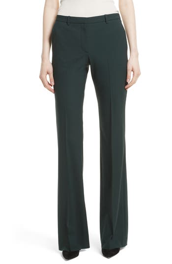 Theory Demitria 2 Flare Leg Stretch Wool Pants, Green
