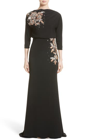 Badgley Mishcka Couture Embellished Blouson Gown