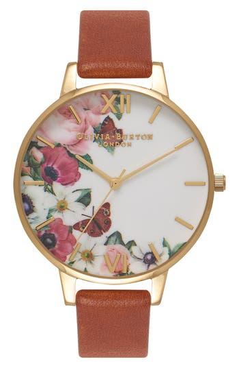 Women's Olivia Burton English Garden Leather Strap Watch, 38Mm