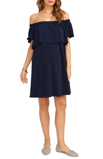 Rosie Pope Luisa Off The Shoulder Maternity Dress, Blue