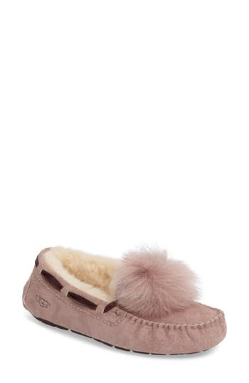 Ugg Dakota Genuine Shearling Pompom Slipper, Purple