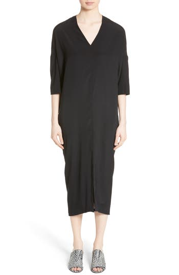 Zero + Maria Cornejo Koya Stretch Silk Charmeuse Dress, Black