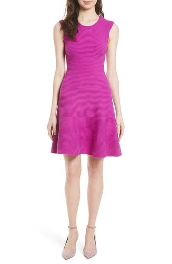 Milly Geo Textured Fit & Flare Dress, Size Petite - Pink