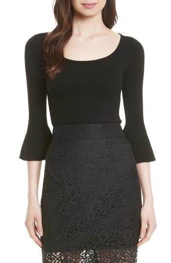 Women's Milly Baby Bell Knit Sweater, Size Petite - Black