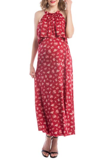 Lilac Clothing Maternity/nursing Maxi Dress, Red