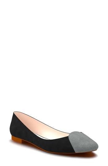 Shoes Of Prey Cap Toe Ballet Flat - Black