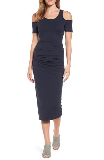 Petite Michael Stars Cold Shoulder Body-Con Dress, Blue