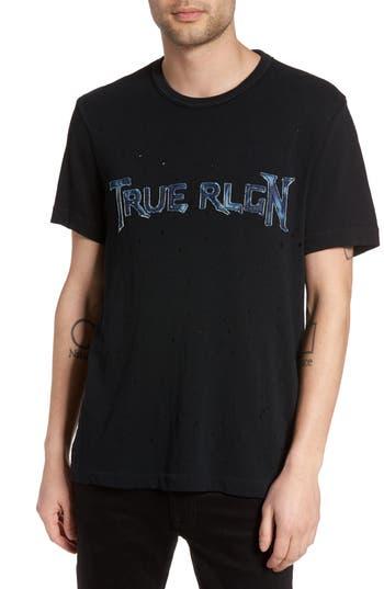 True Religion Brand Jeans Denim Applique Logo T-Shirt, Black