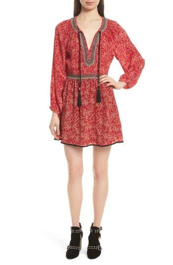 The Kooples Beaded Print Silk Dress, Red