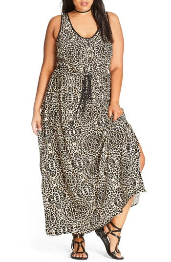 Plus Size City Chic Summer Party Maxi Dress, Brown