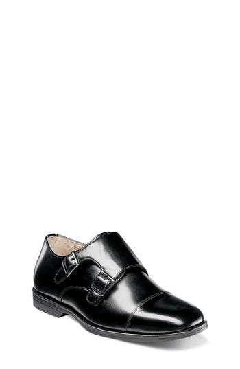 Boys Florsheim Reveal Double Monk Strap Shoe Size 7 M  Black