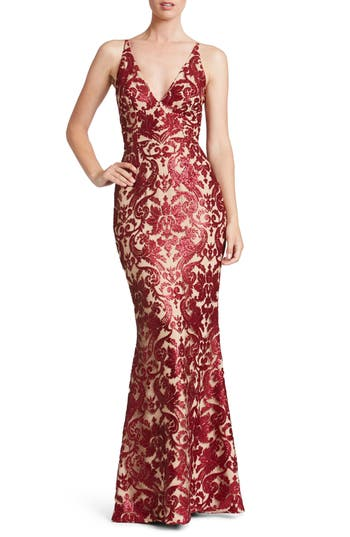Dress The Population Karen Mermaid Gown, Burgundy