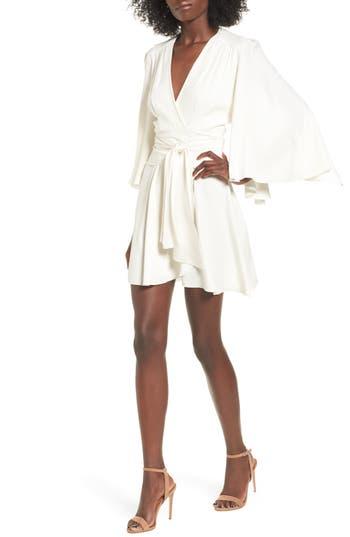 Women's Stone Cold Fox Celeste Silk Wrap Dress, Size 2 - White